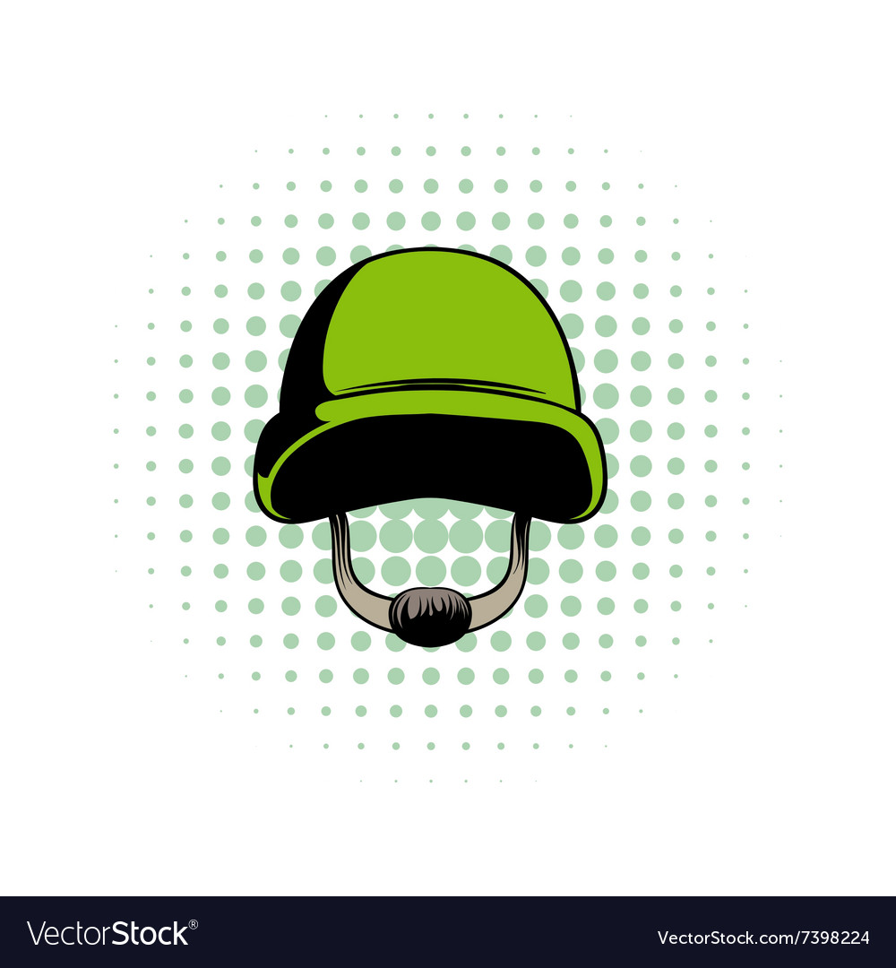 Army helmet comics icon vector