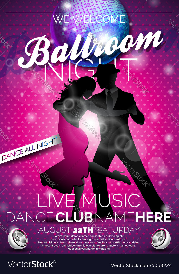 Ballroom night party flyer design vector
