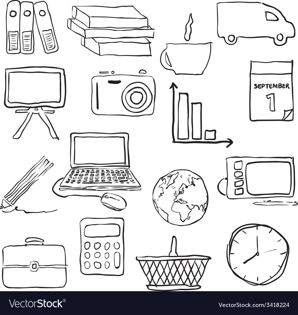Doodle business pictures vector