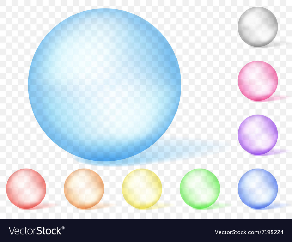 Multicolored transparent spheres vector