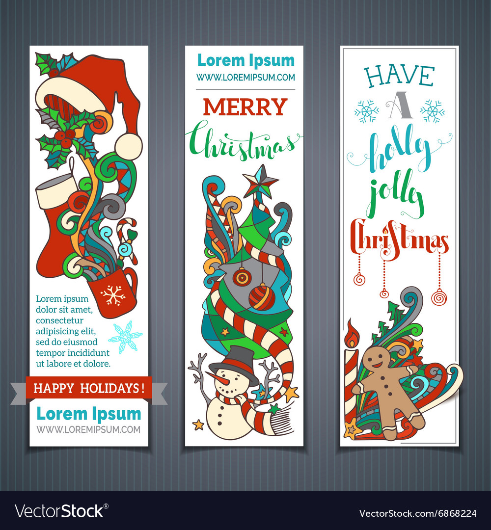 Set of christmas vertical banners vector