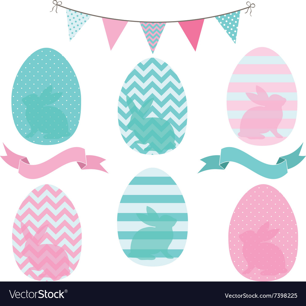 Easter eggs collections vector