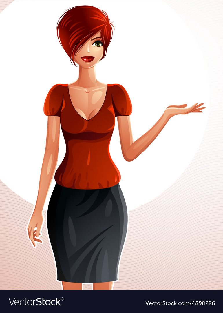 Beautiful caucasian businesswoman fulllength vector