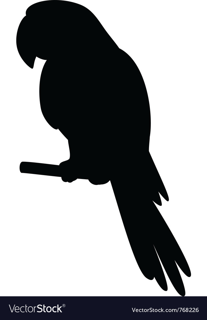 Parrot on a pole silhouette vector