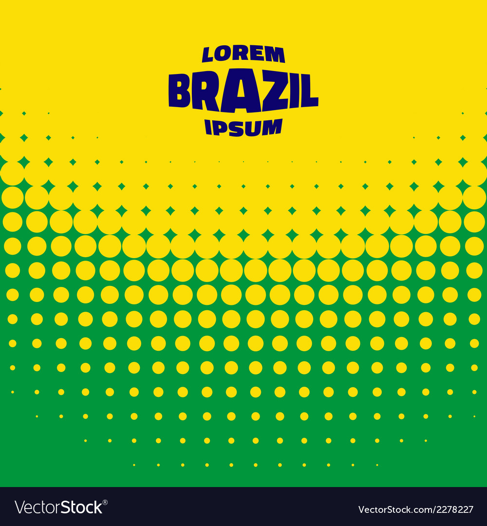 Halftone background using brazil flag colors vector