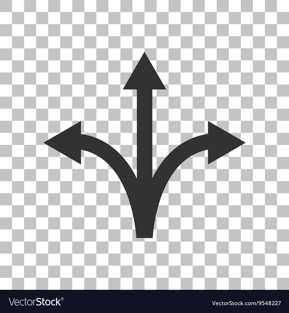 Threeway direction arrow sign dark gray icon on vector