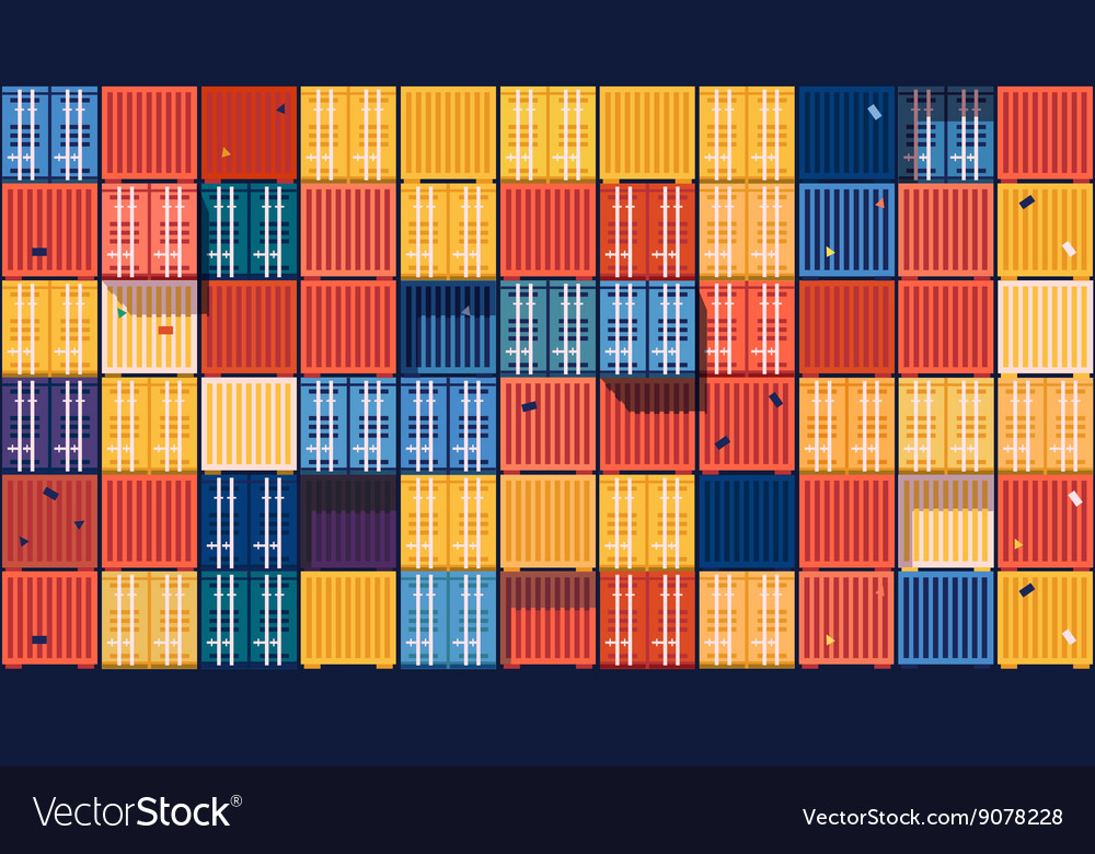 Containers background flat vector
