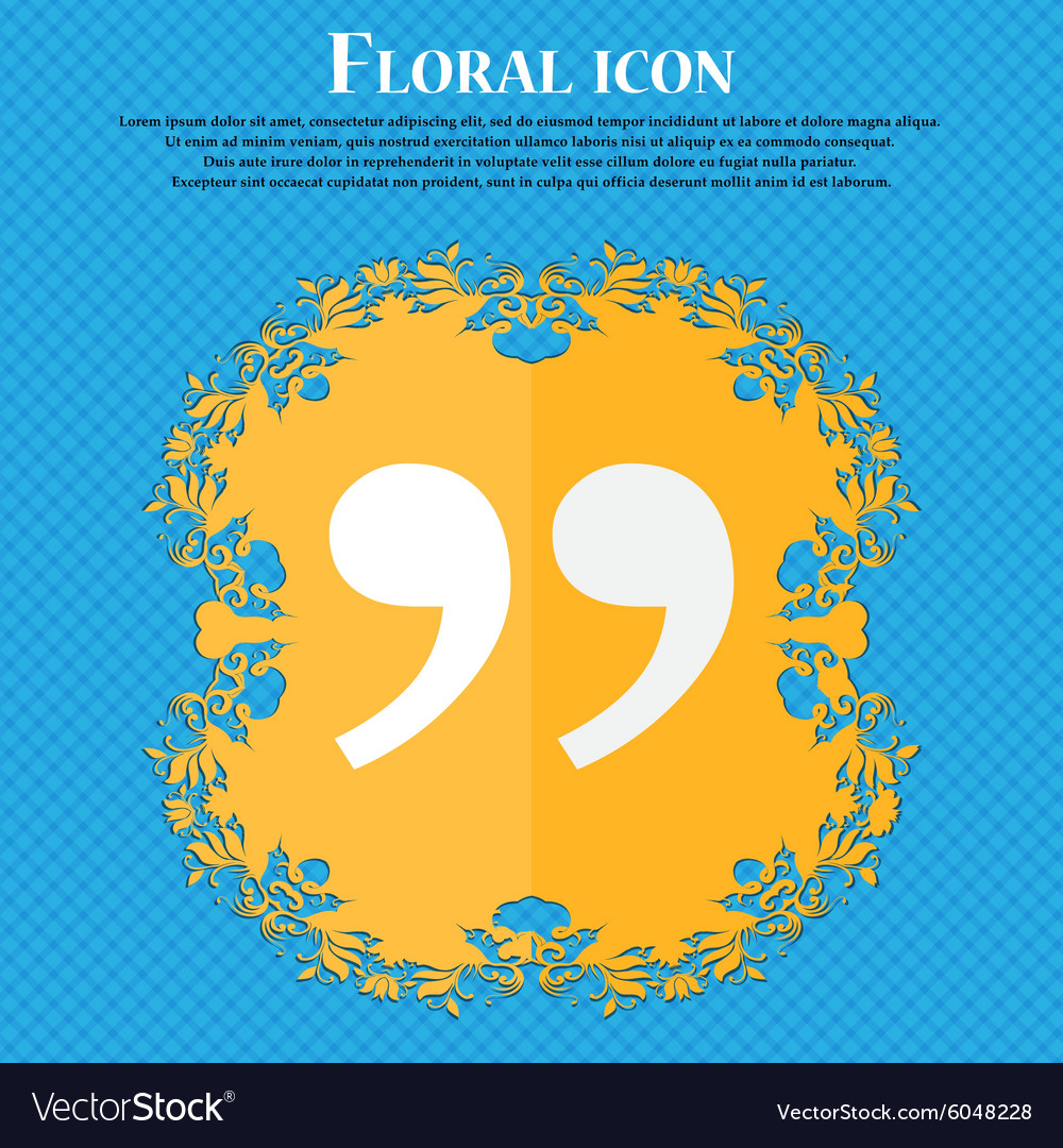 Double quotes at the end of words floral flat vector