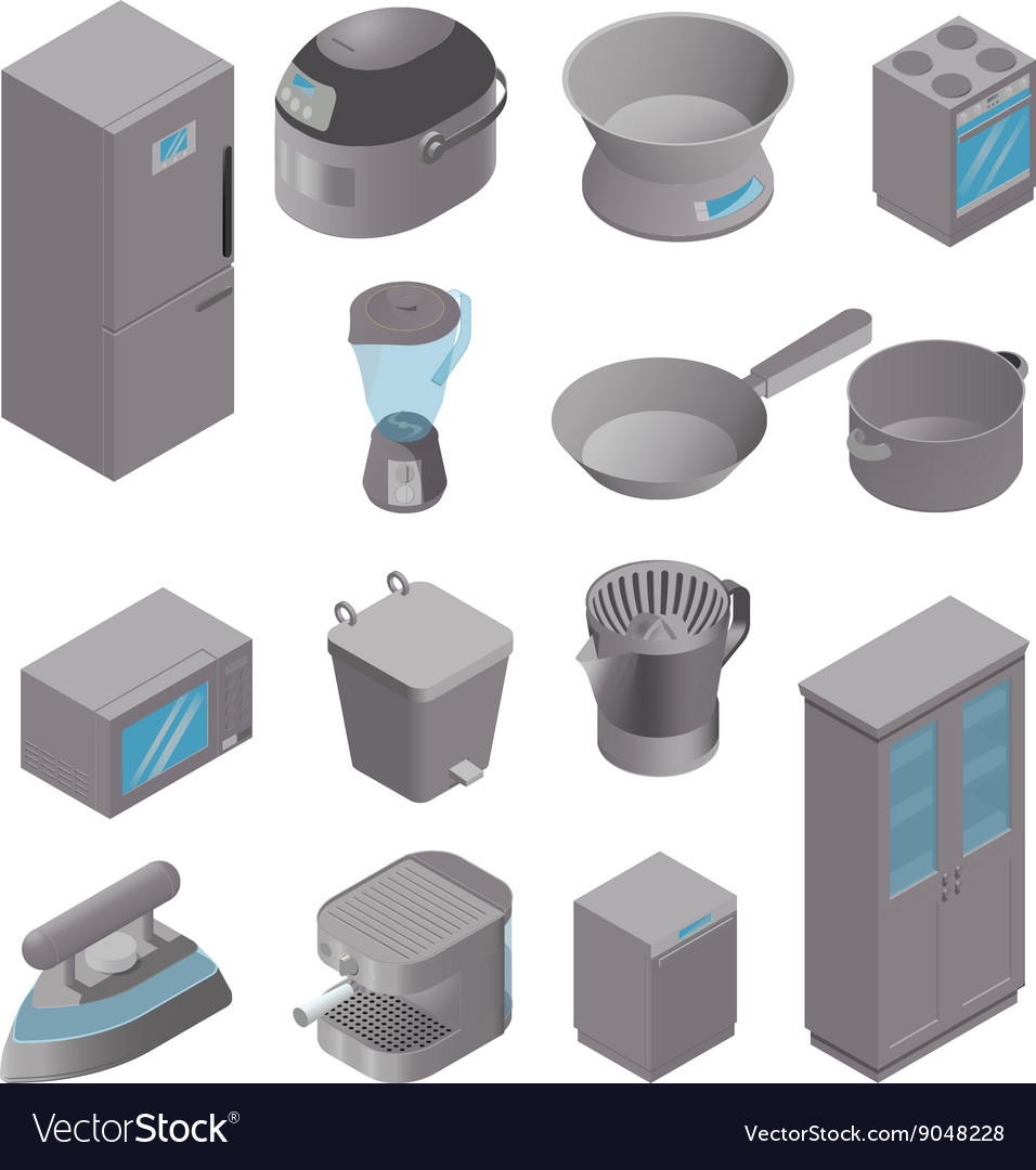 Isometric set of kitchen appliances vector