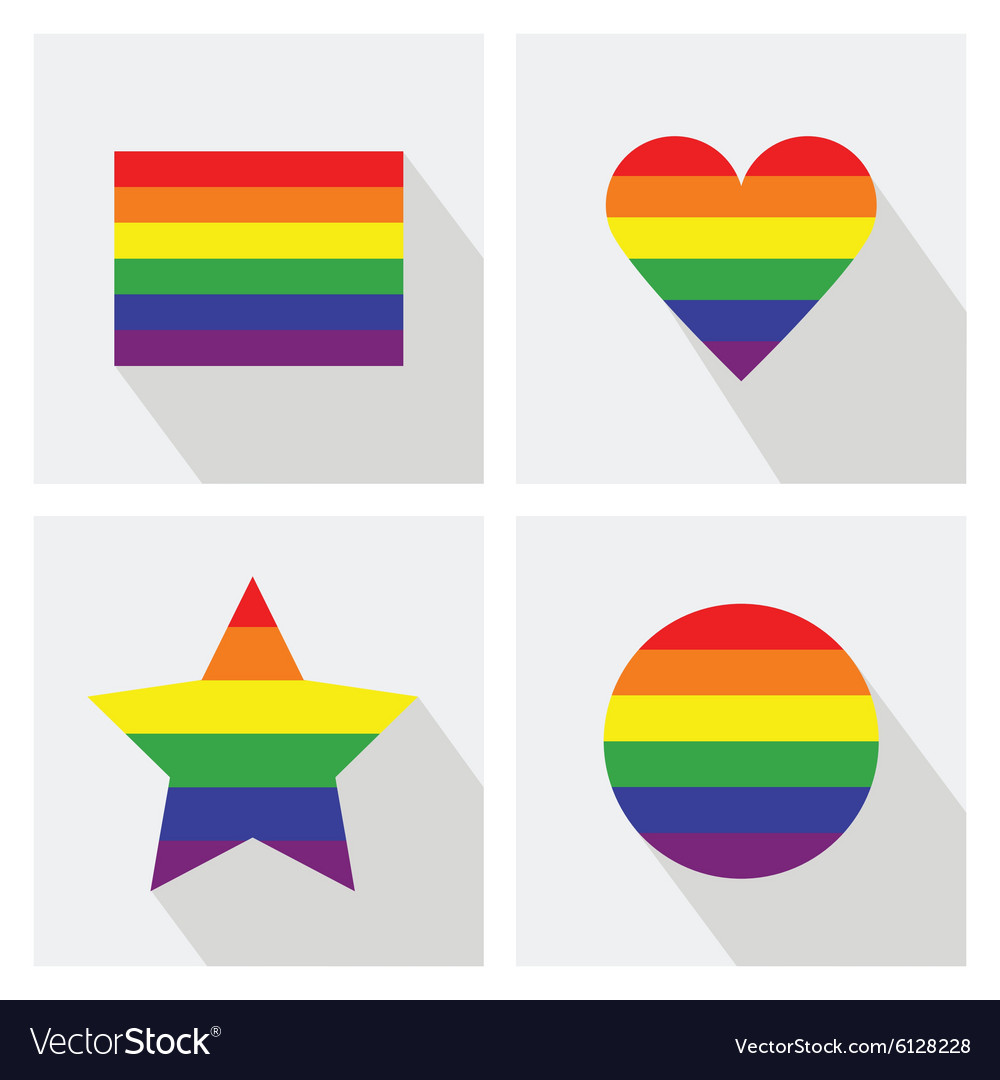 Pride flat icon set vector