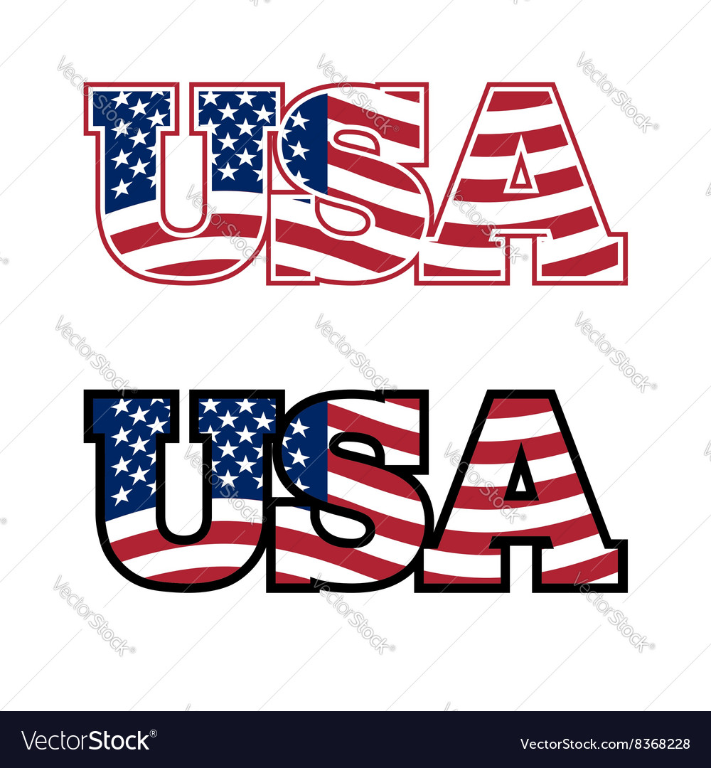 Usa text flag usa united states of america flag in vector