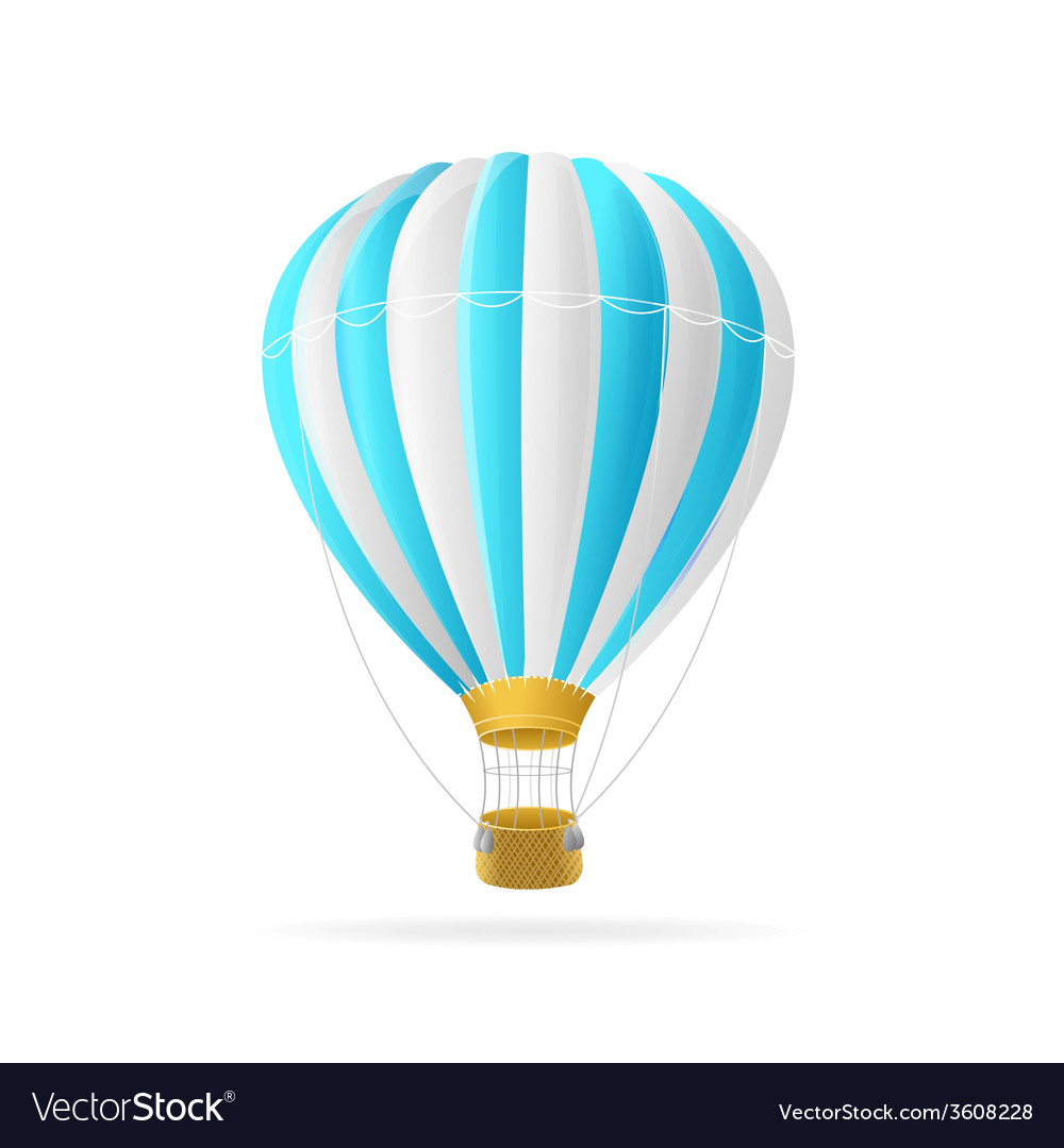 White and blue hot air ballon isolated vector