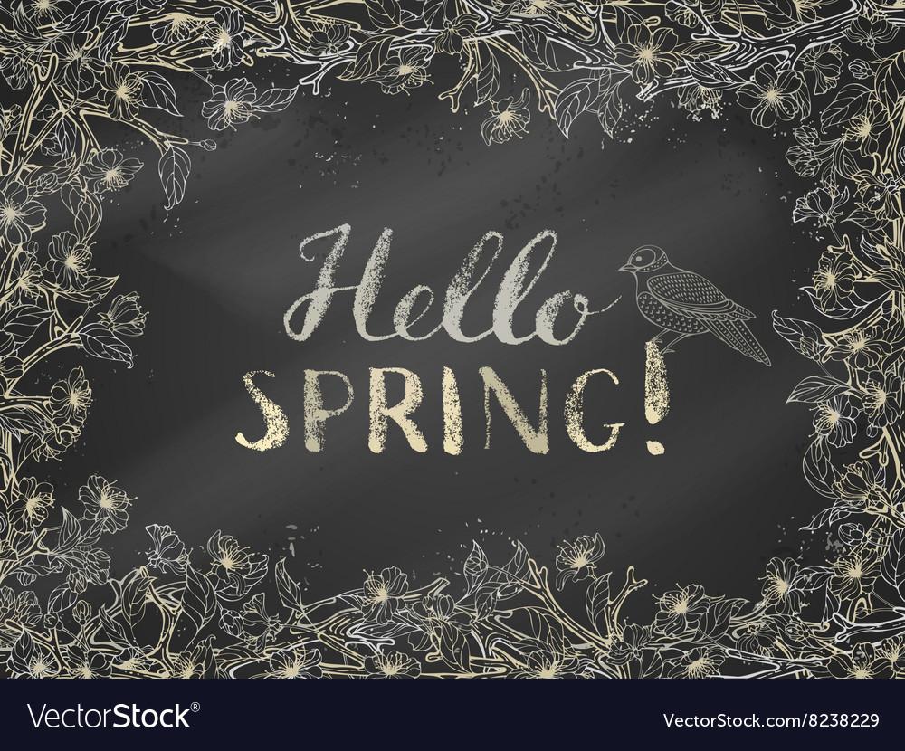Chalk spring template vector