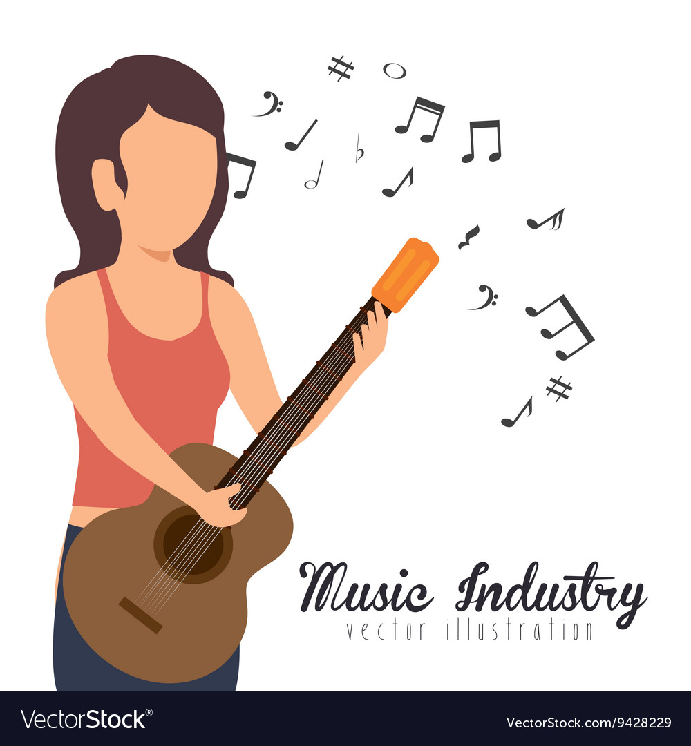 Woman playing guitar isolated icon design vector