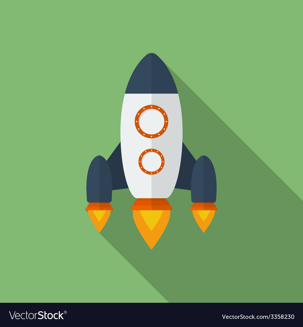 Icon of rocket flat style vector