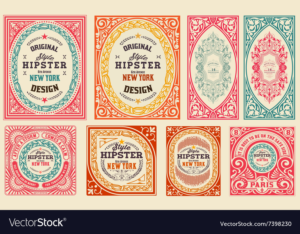 Retro cards set elements organized by layers vector