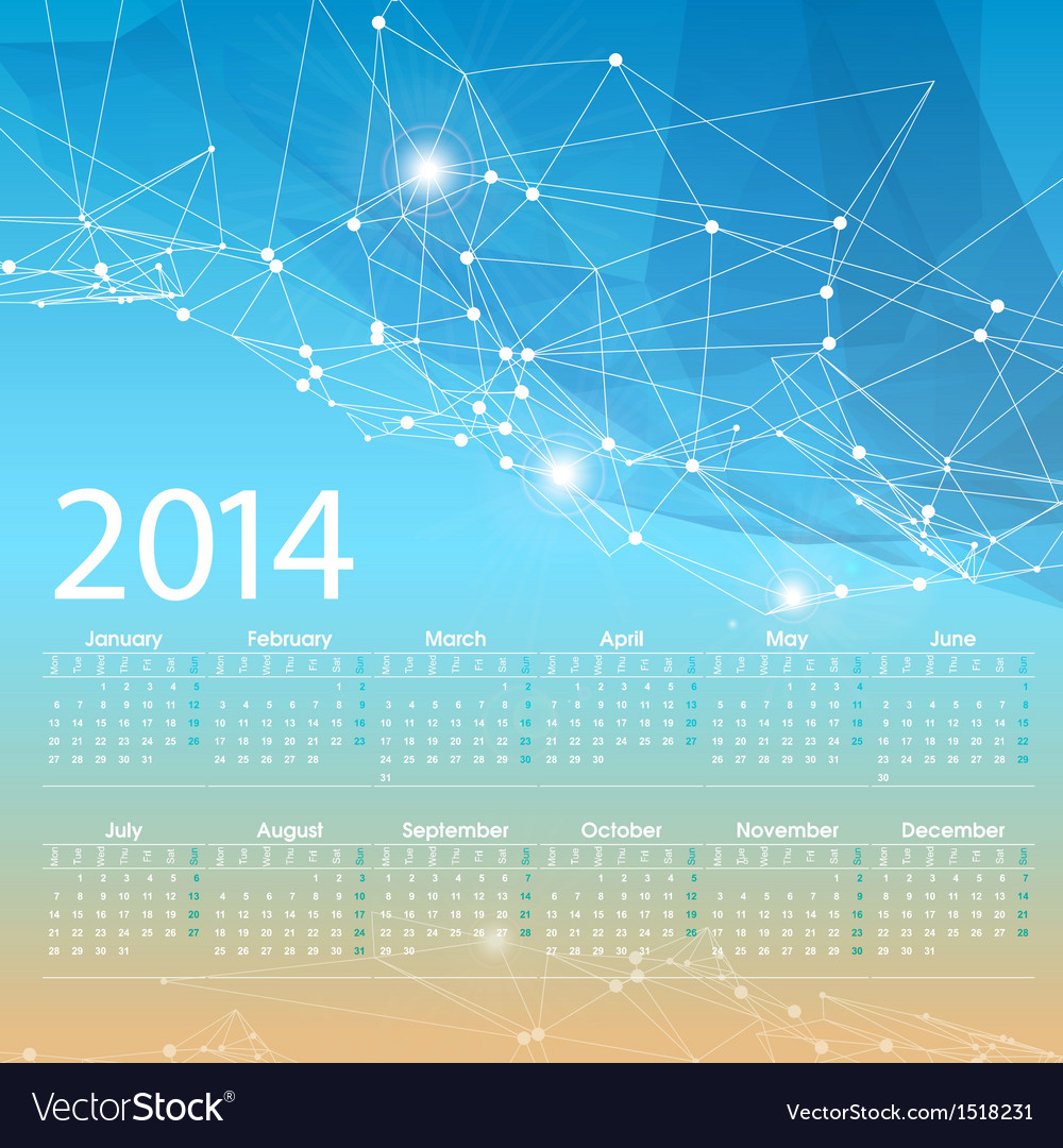 2014 calendar grid design template vector