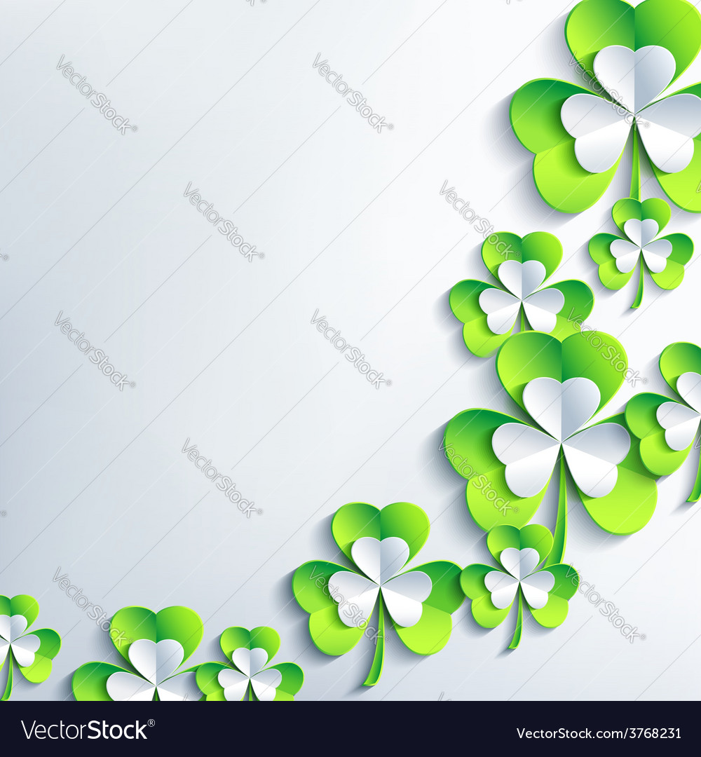 Background for patrick day with 3d leaf clover vector