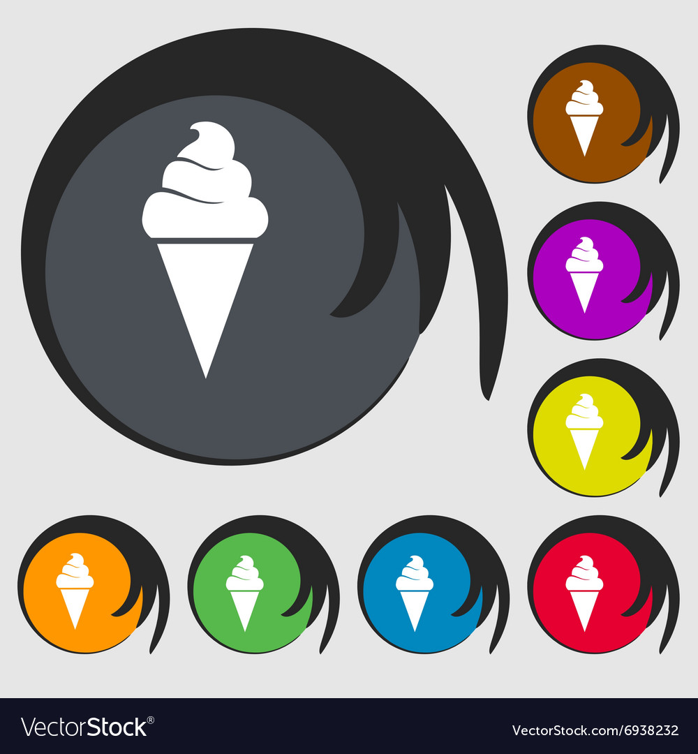Ice cream icon symbols on eight colored buttons vector