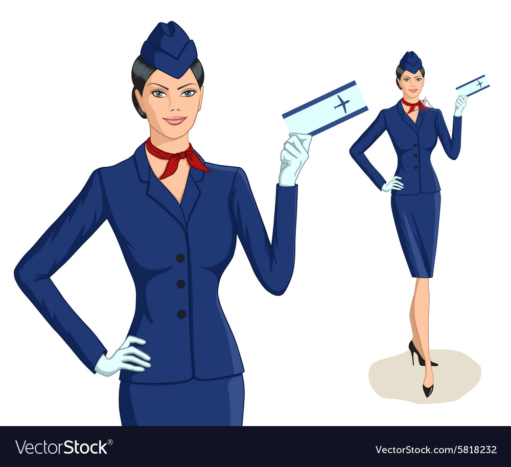 Stewardess with ticket vector