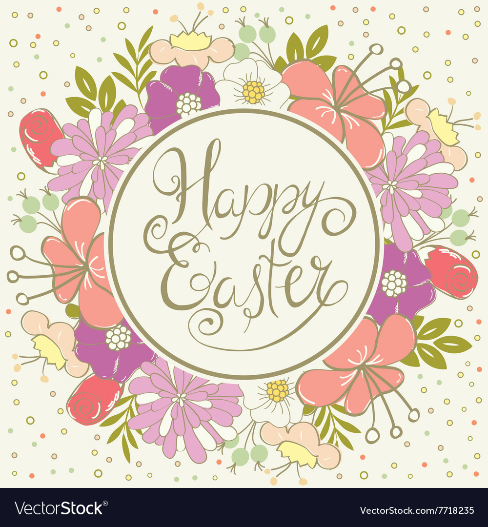 Easter card with floral wreath vector