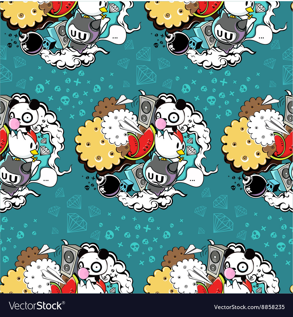 Pattern with panda and cookie vector