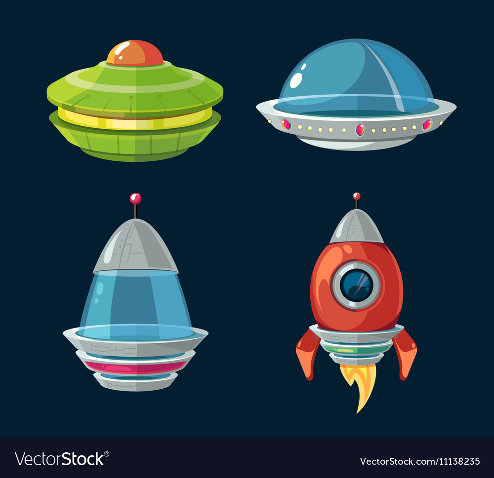 Spaceship and spacecrafts cartoon set for space vector