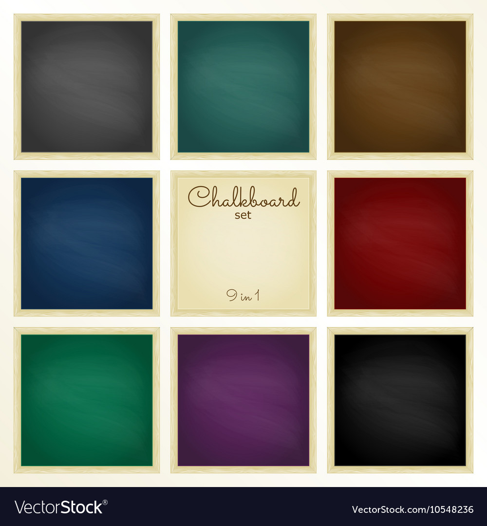 Colorful chalkboard with frame set 9 in 1 vector