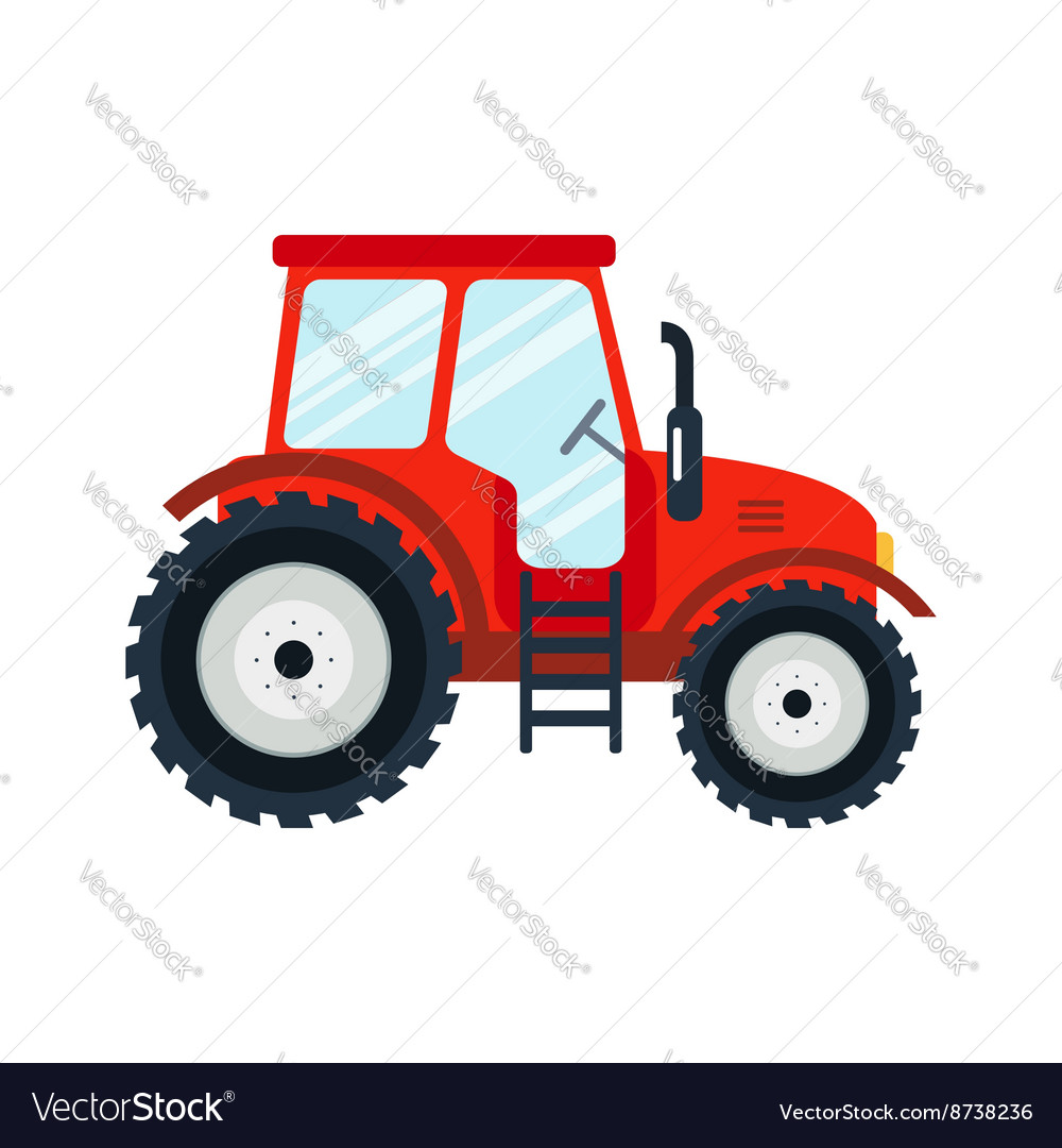 Flat tractor on white background vector