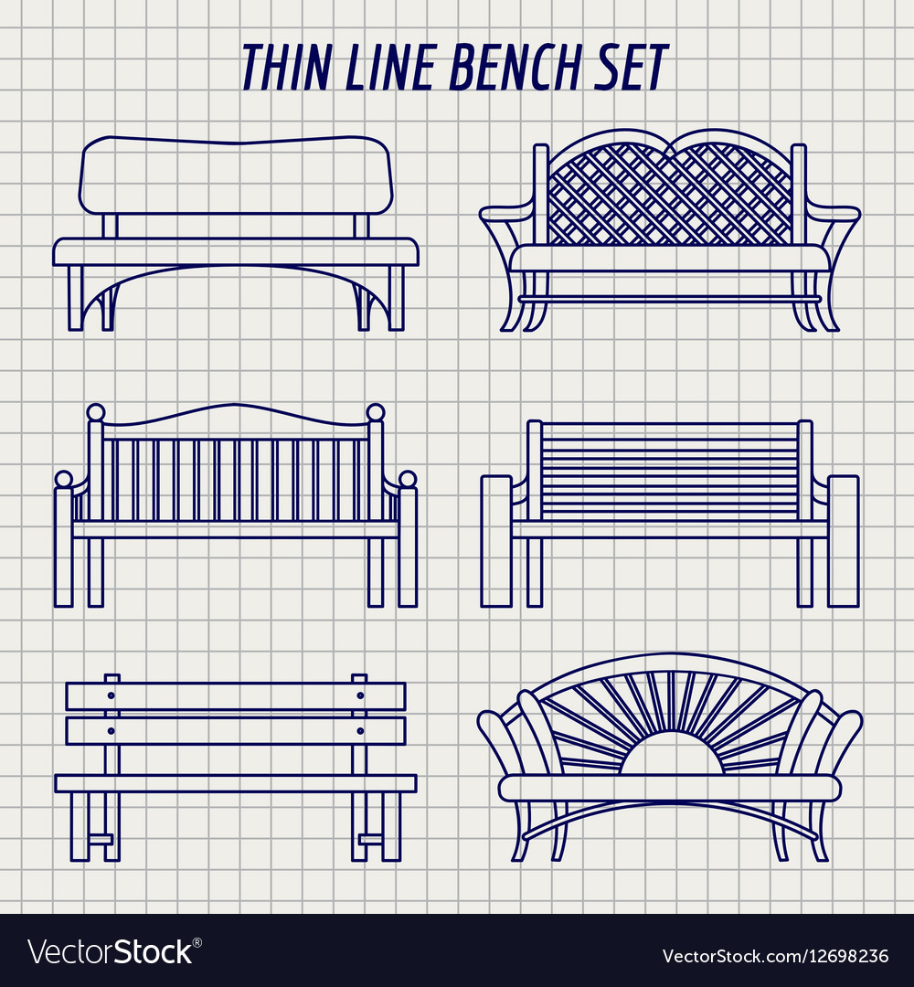 Garden bench set on notebook background vector