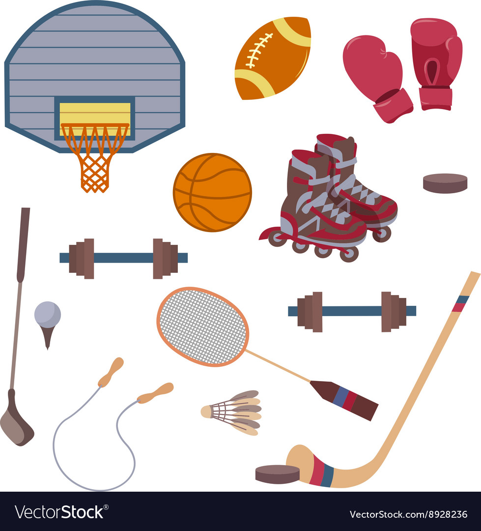 Set of sport objects vector
