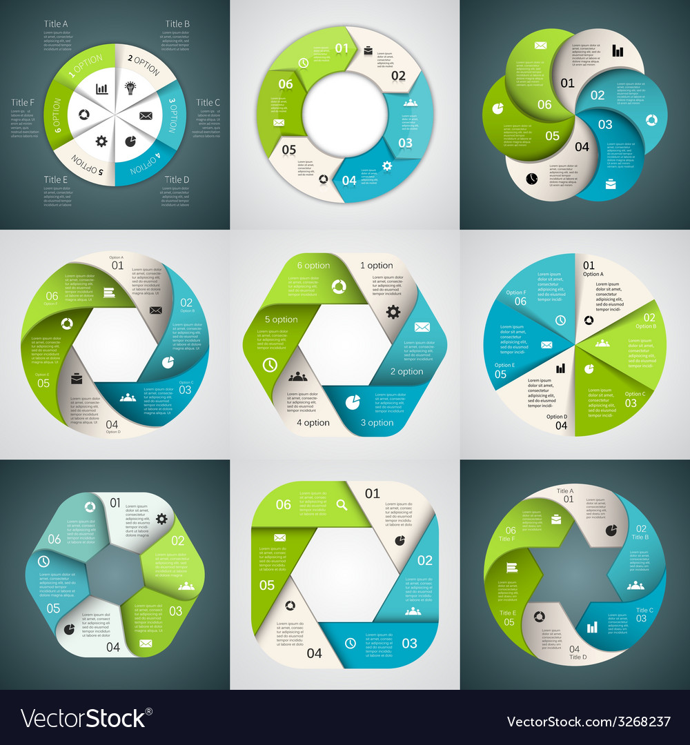 Circle arrows ribbons infographics set template vector