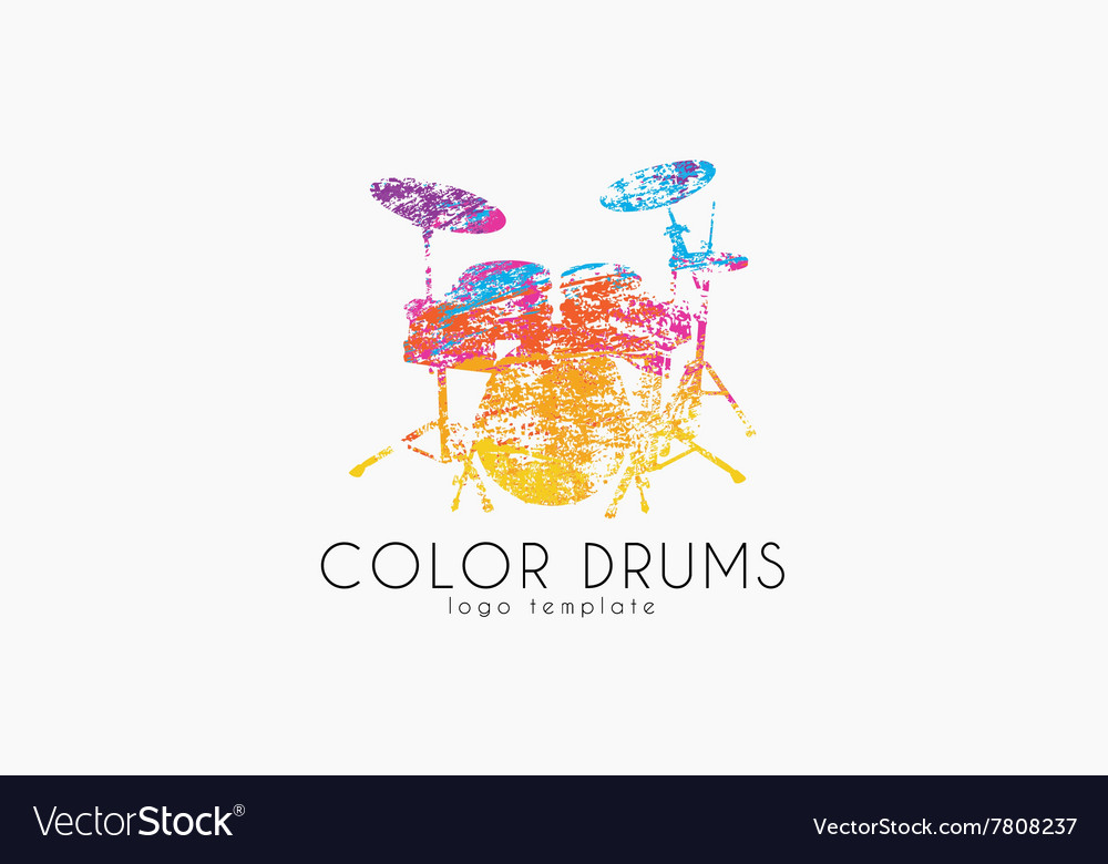 Drums logo color music logo music logo logo in vector