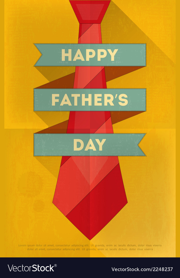 Fathers day poster tie red vector