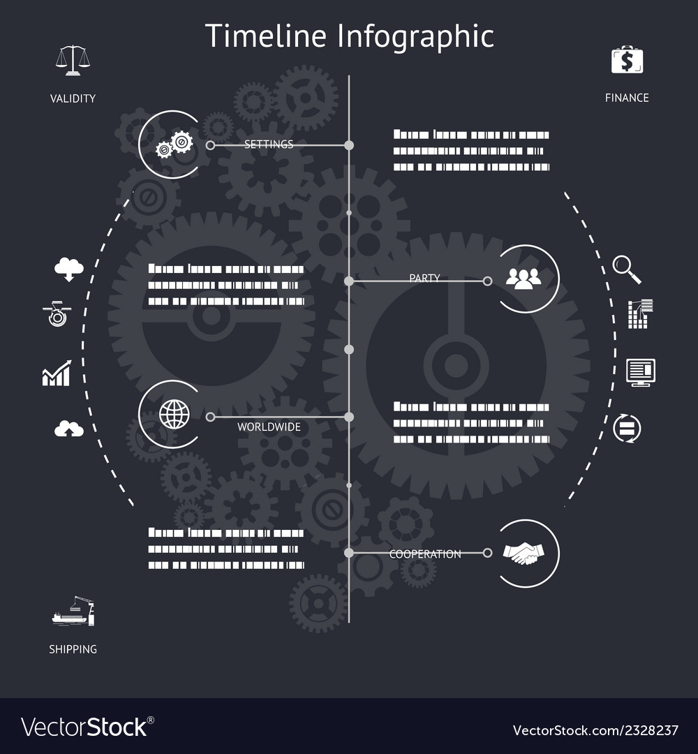 Timeline infographics symbols elements and icons vector