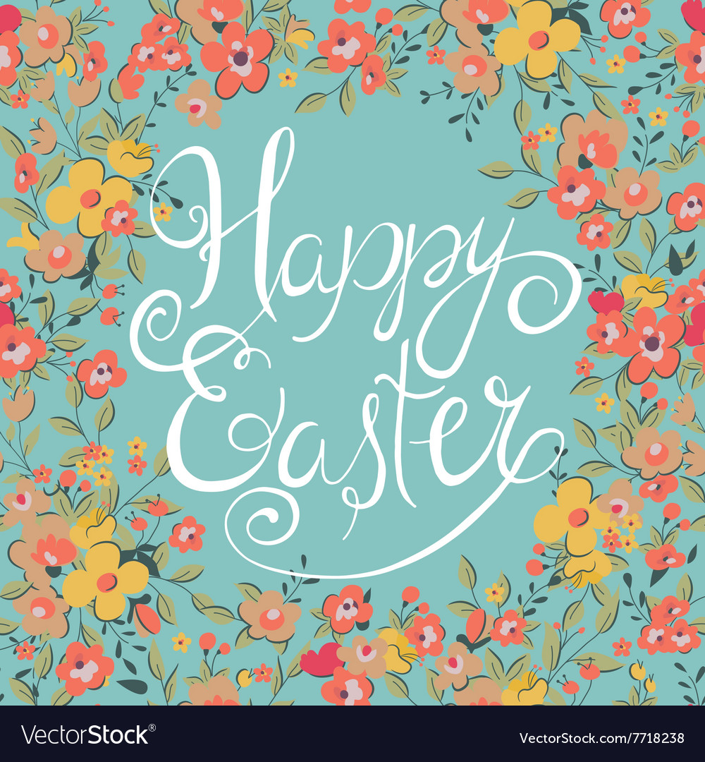Easter card with spring flowers vector