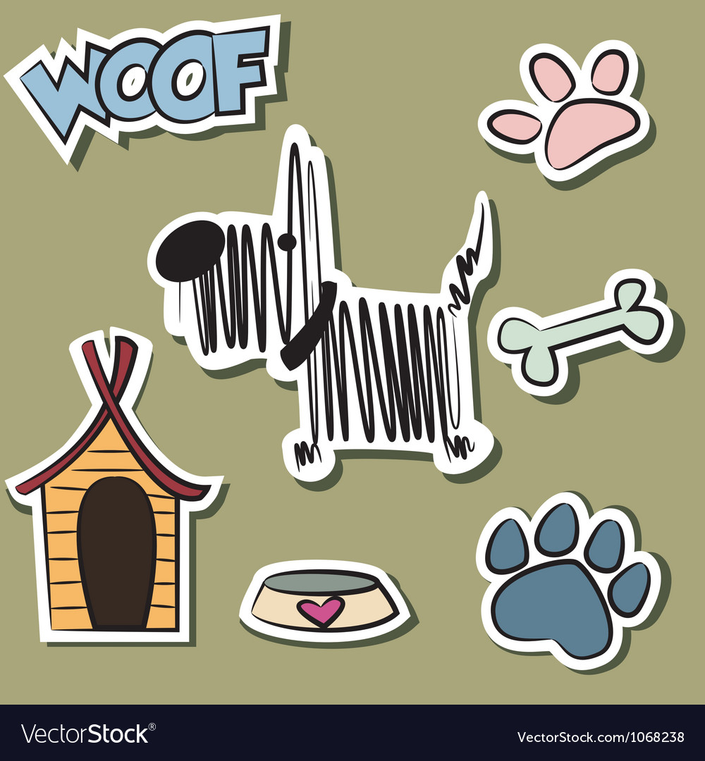 Funny dog and accessory sticker set vector