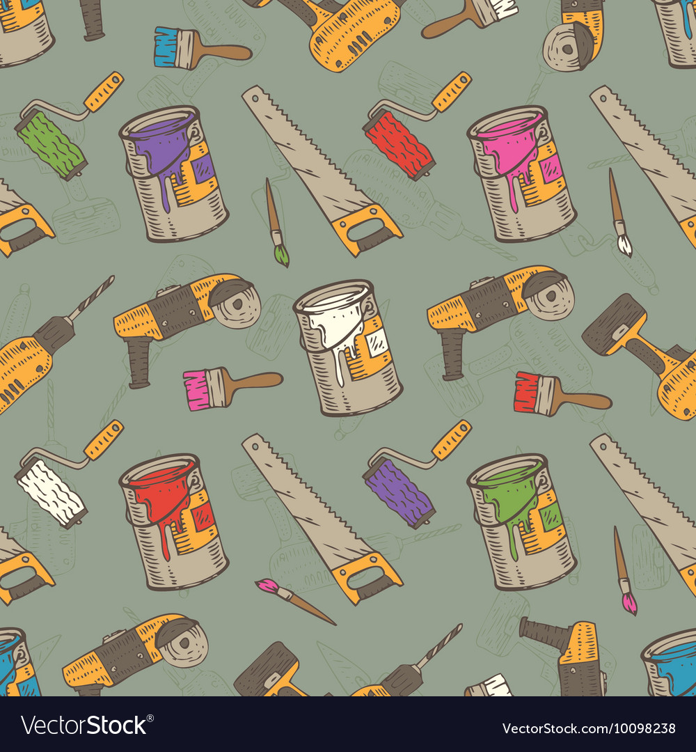 Seamless pattern with brushes paints and vector