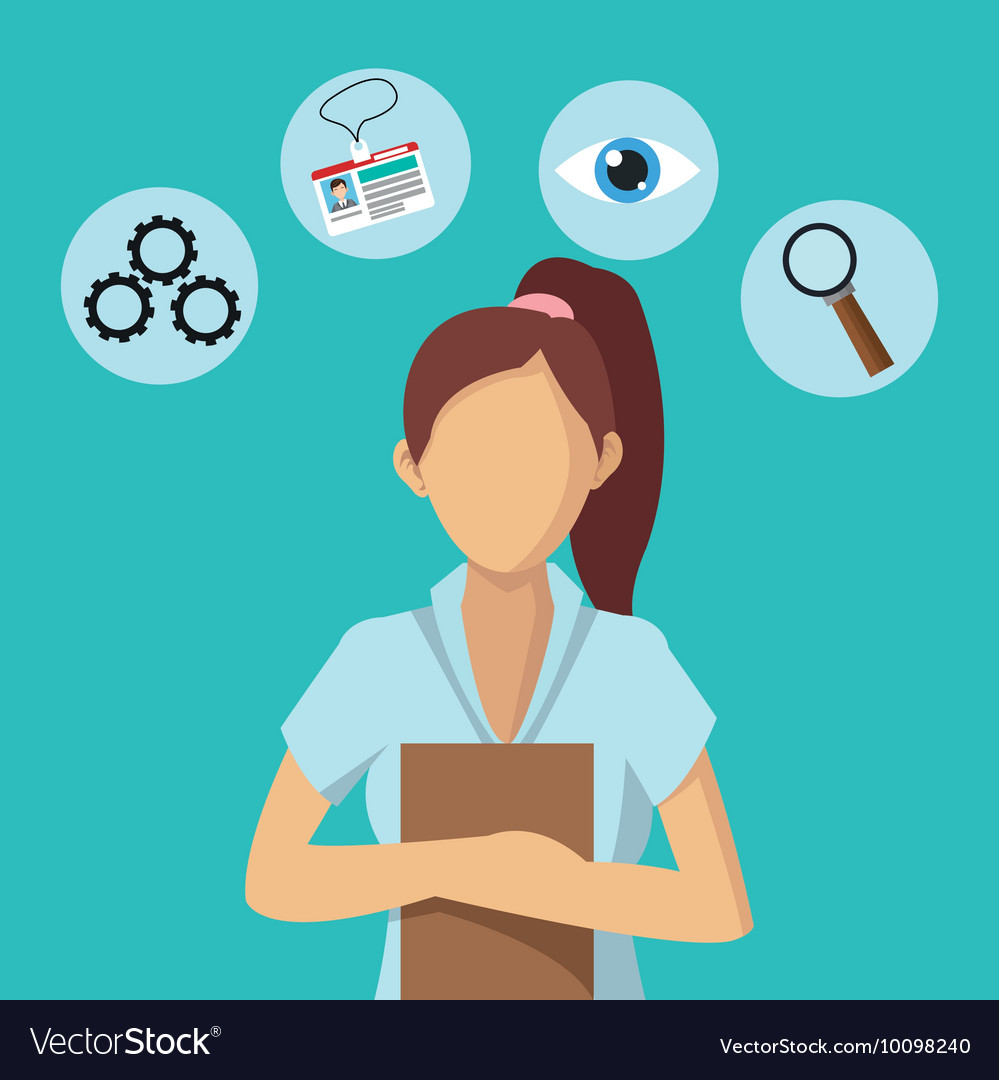 Businesswoman human resources business icon vector