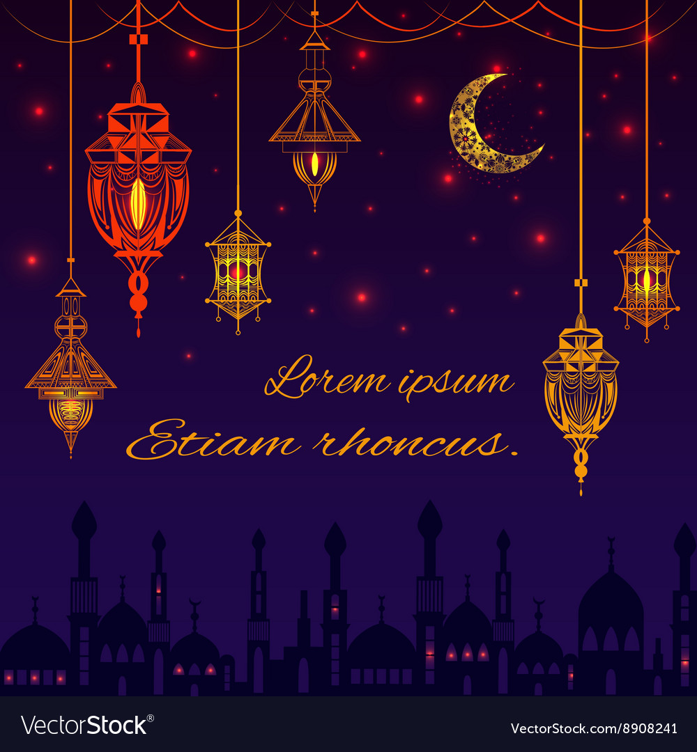 Greeting card with silhouette of mosque text for vector
