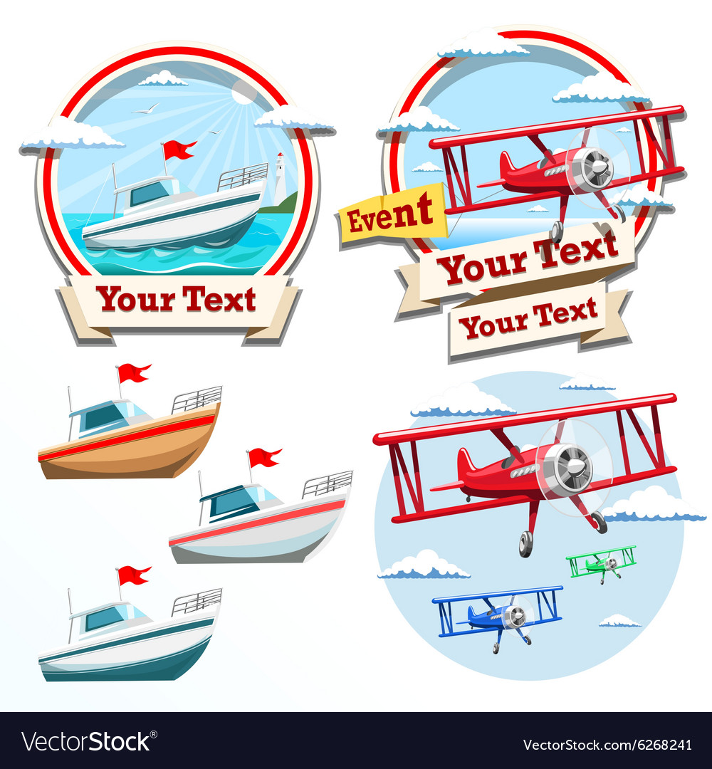 Plane and boat summer time vector