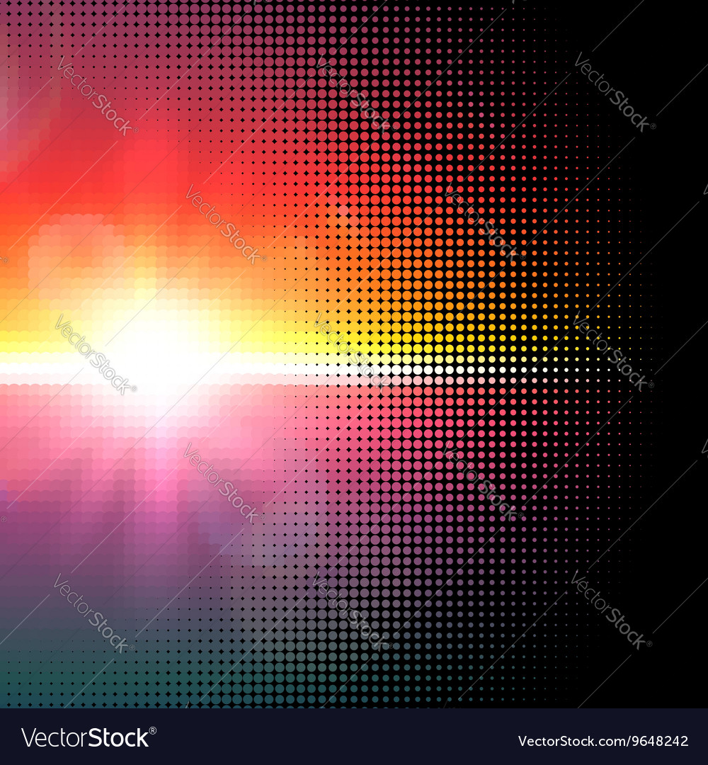 Halftone mosaic with sun flares and bokeh vector