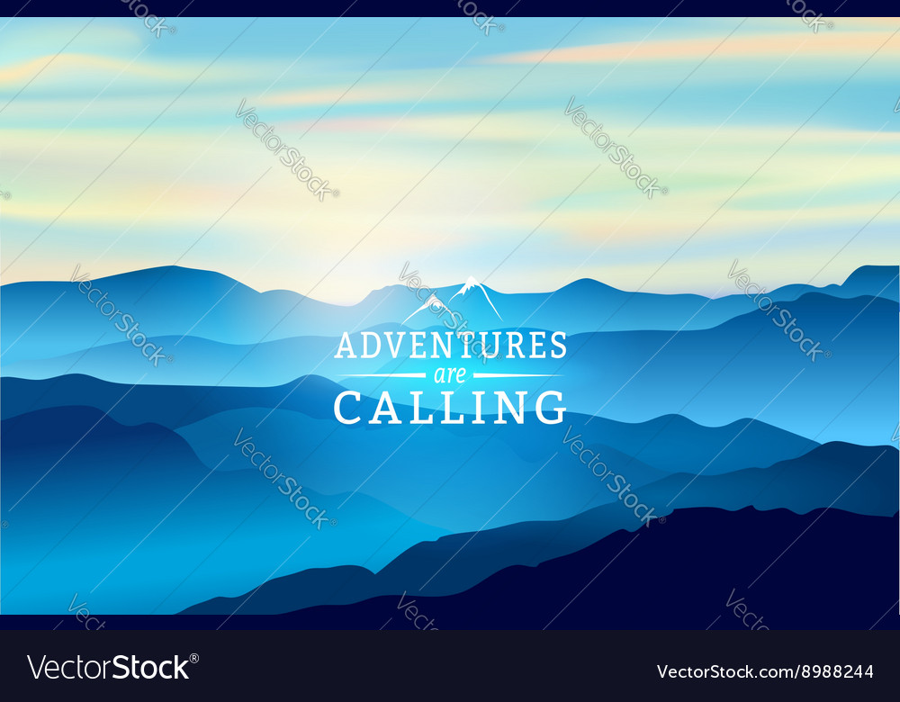 Blue sunrise in the mountains  background vector