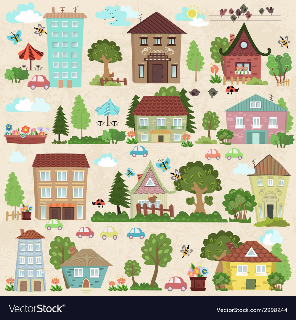 Collection a cute houses and trees for you design vector