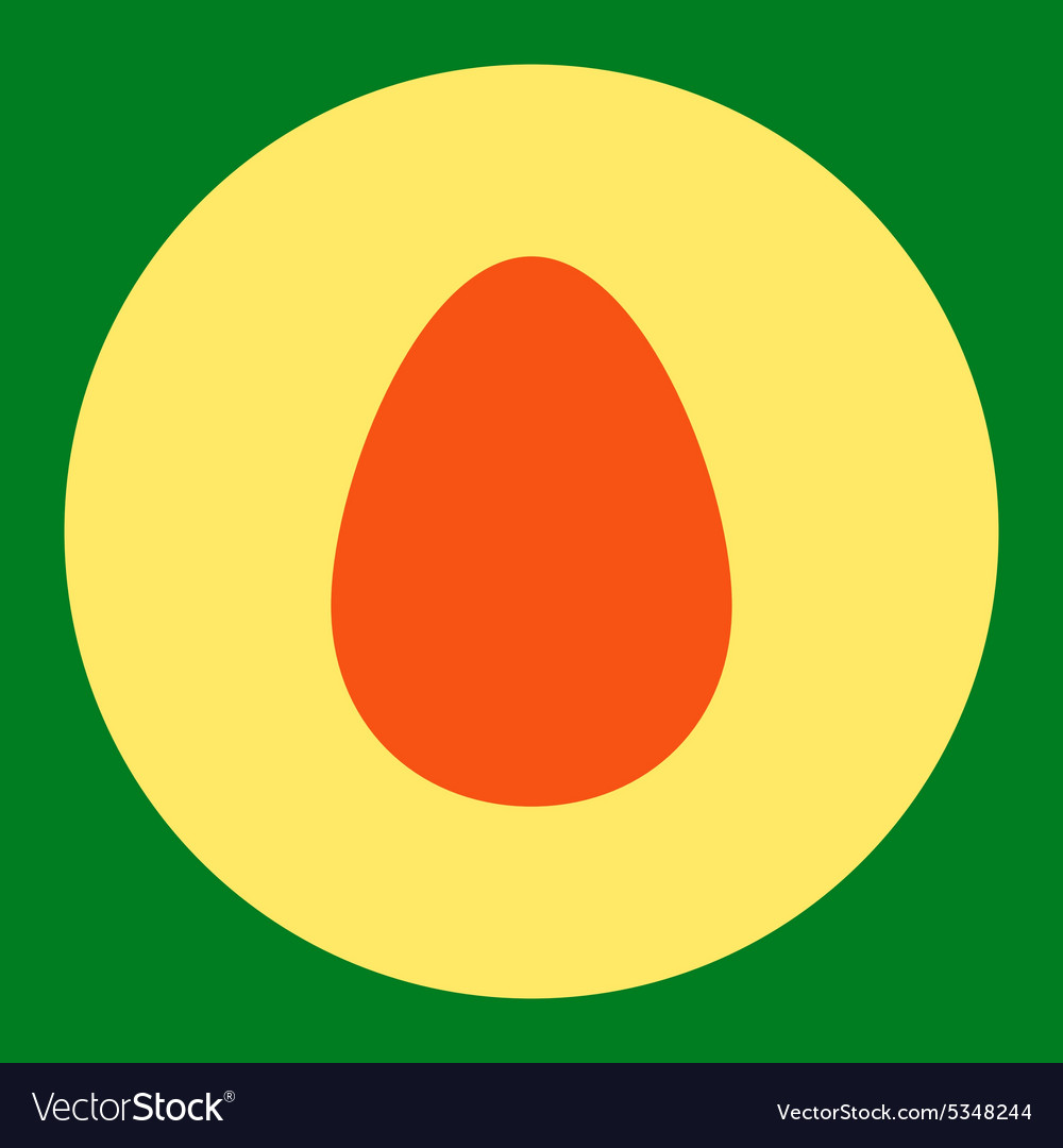 Egg flat orange and yellow colors round button vector