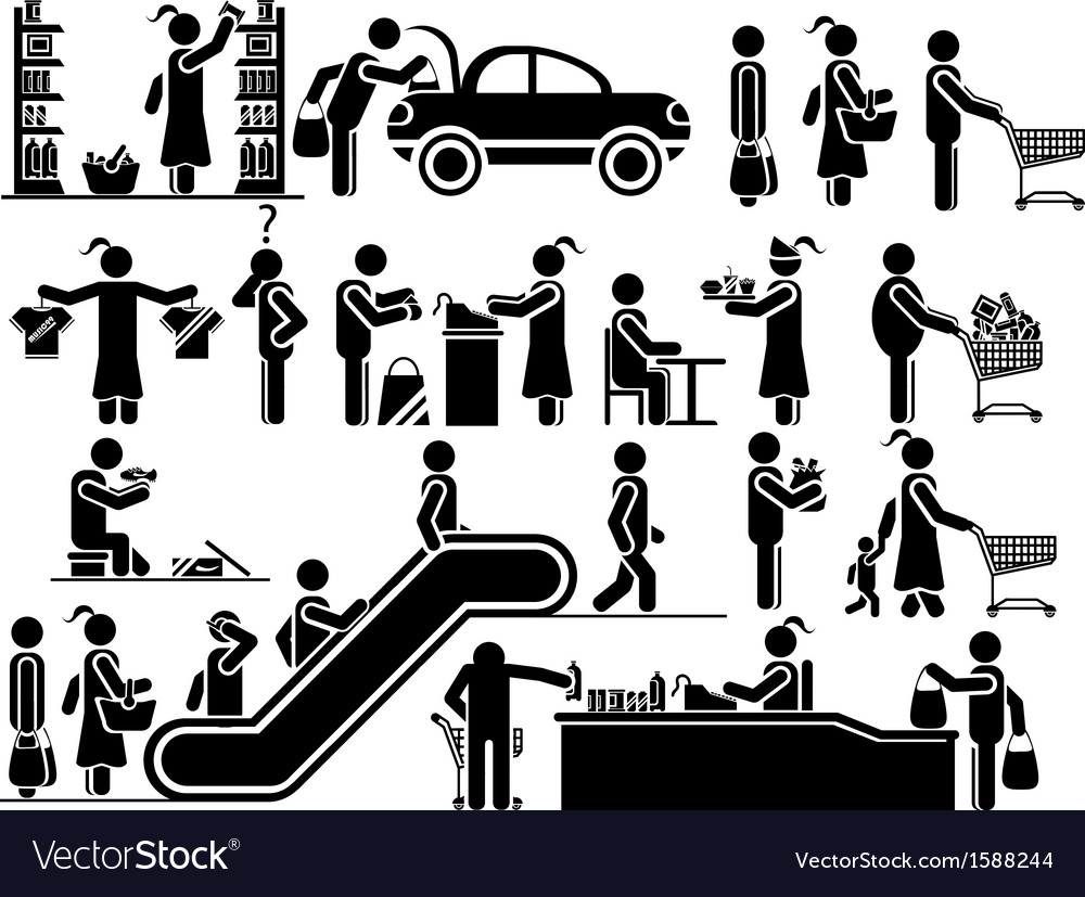Icons man shopping vector