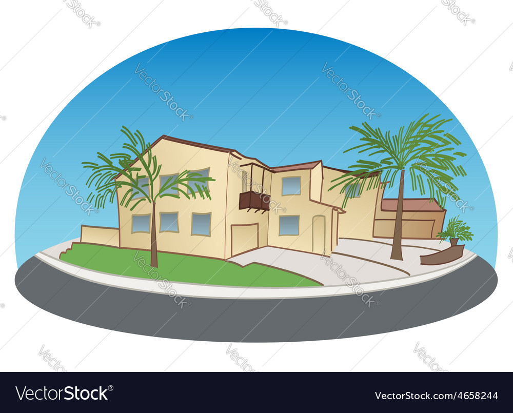 Light yellow twostorey house with trees vector
