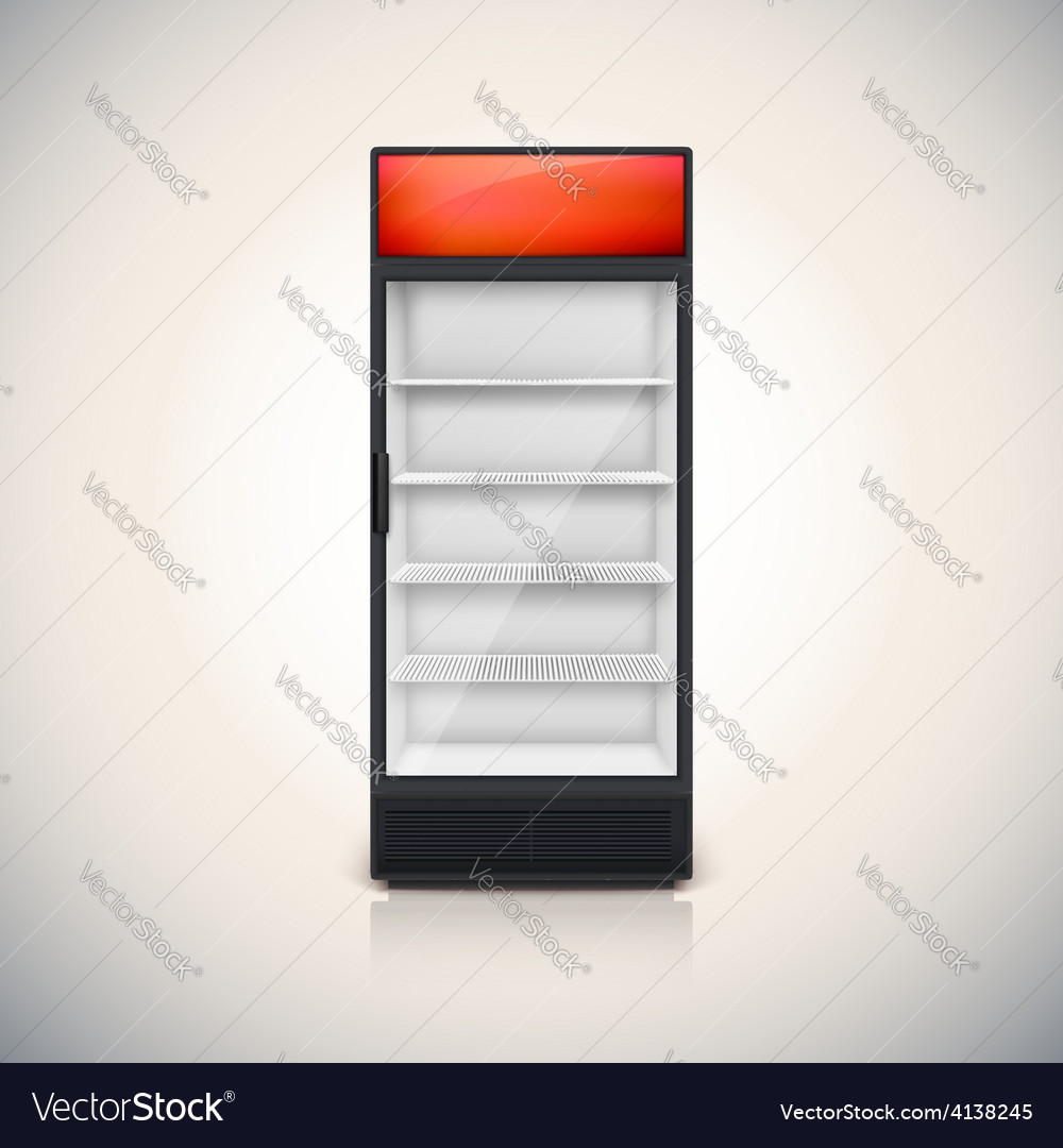 Fridge with glass door vector
