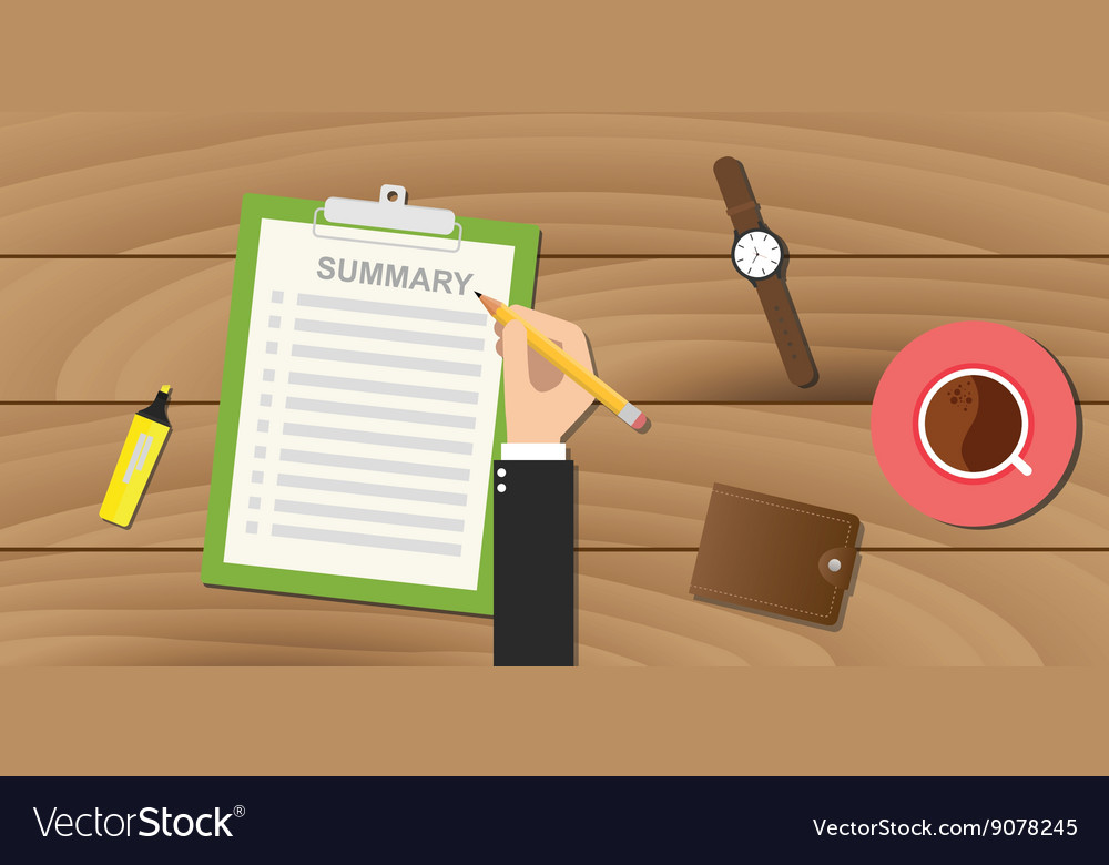 Summary report business clipboard executive hand vector