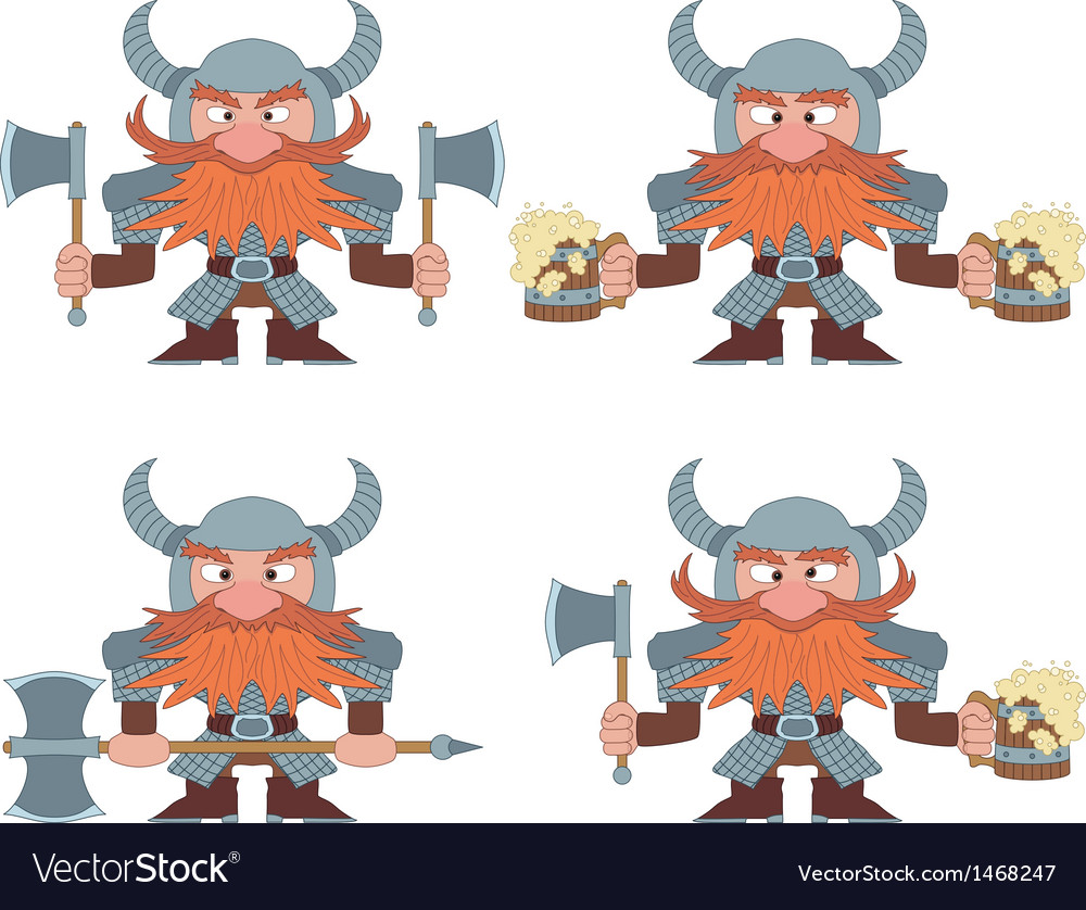 Dwarfs with beer mugs and axes set vector